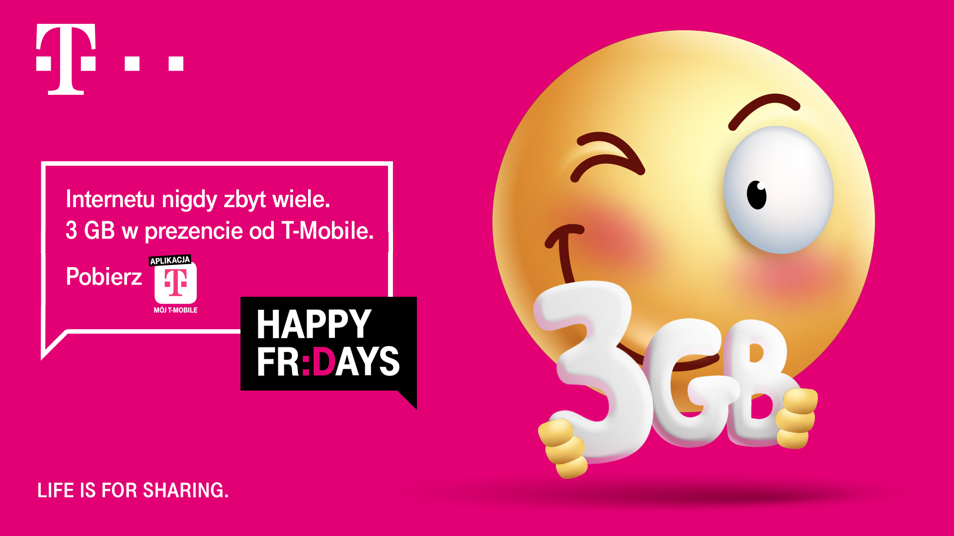 """1 Blisko 44 mln bezpłatnych GB w ciągu pół roku – T-Mobile rozdaje kolejne gigabajty w ramach """"Happy Fridays"""""""