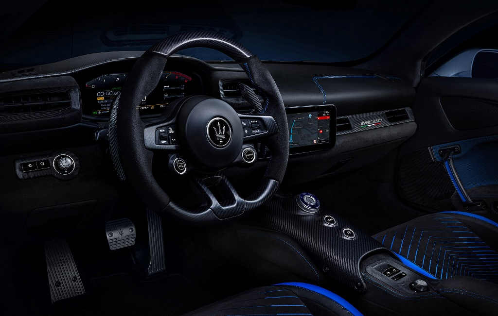 Maserati MC20 interior with TomTom