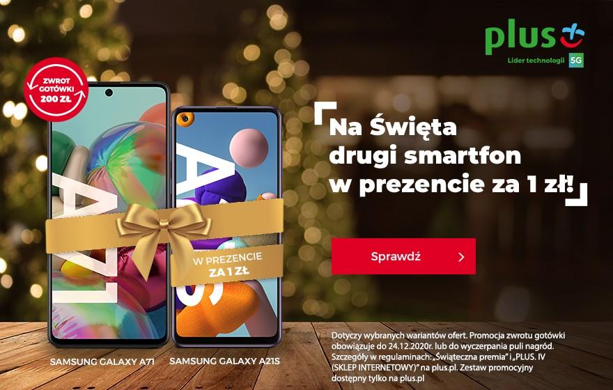 Ciąg dalszy świątecznych promocji w Plusie – drugi smartfon lub słuchawki w prezencie za 1 zł