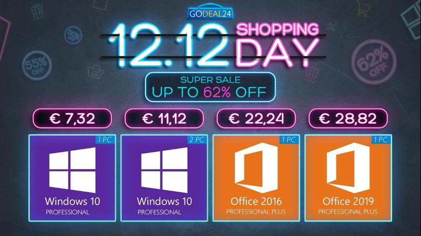 Wielka wyprzedaż 12.12: Windows 10 i oprogramowanie biurowe do 88% taniej