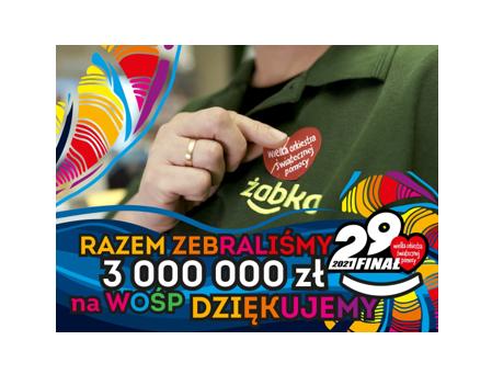 3 miliony złotych dla WOŚP od Żabki