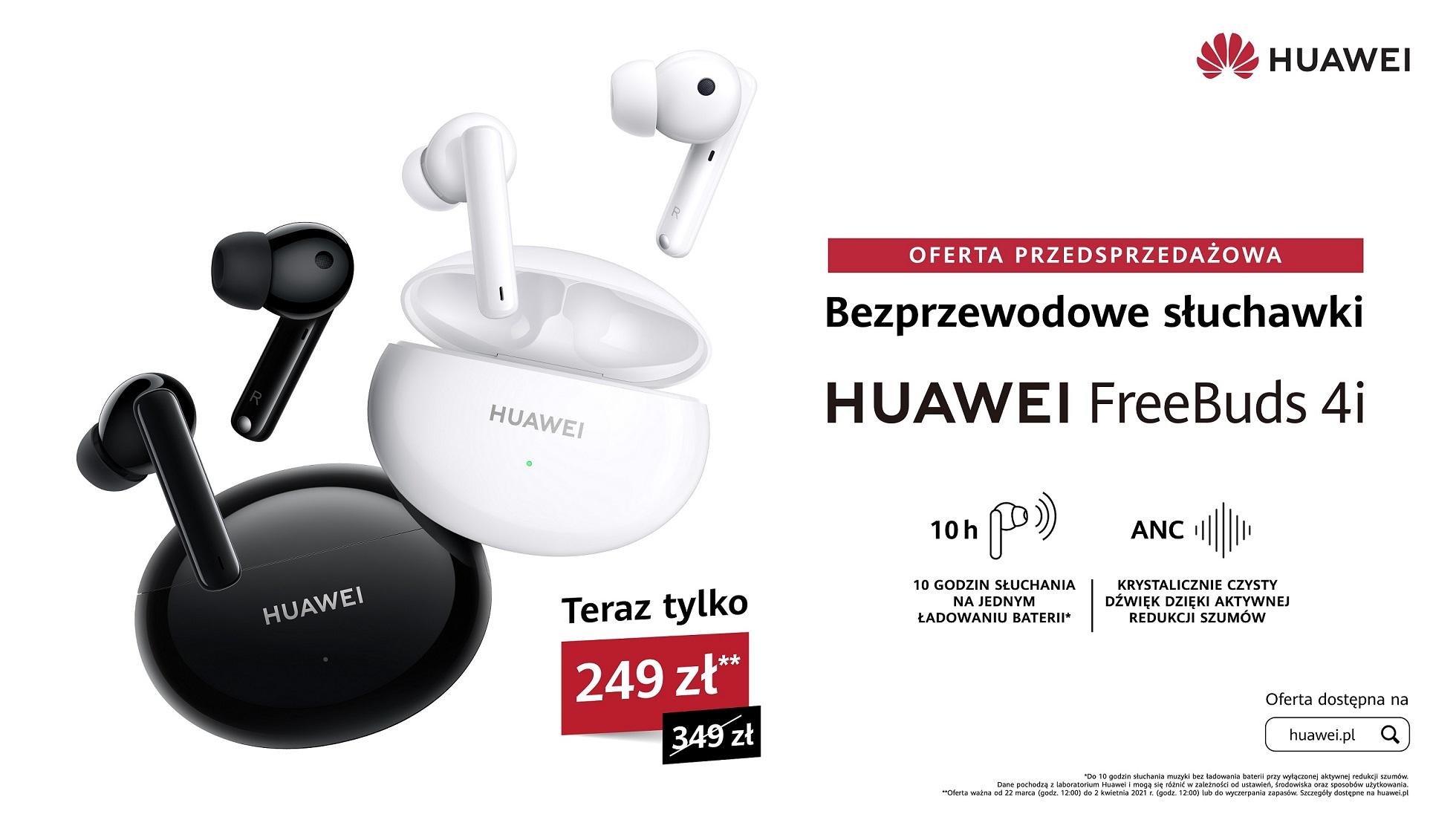 Huawei FreeBuds 4i, nowe, bezprzewodowe słuchawki z aktywną redukcją szumów, od dziś w atrakcyjnej ofercie