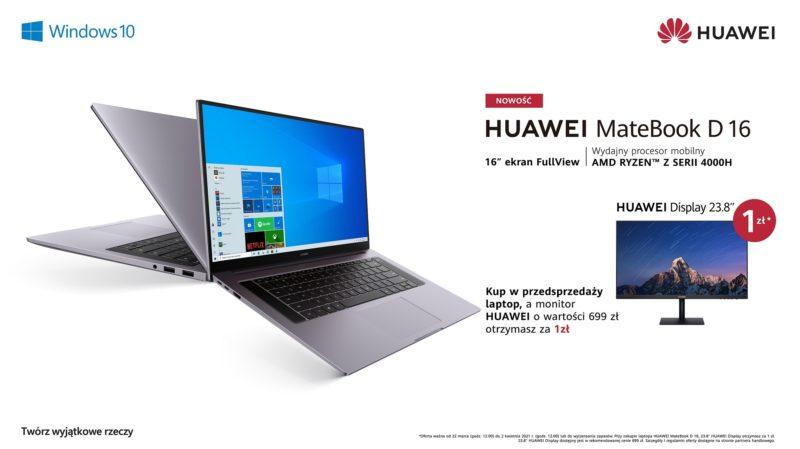 Huawei MateBook D 16 – pierwszy laptop marki z 16-calowym ekranem, już w sprzedaży w Polsce