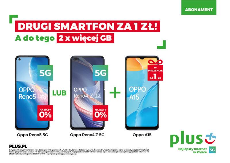 Wyjątkowa wiosenna promocja w Plusie: drugi smartfon za 1zł oraz 2x więcej GB w abonamencie
