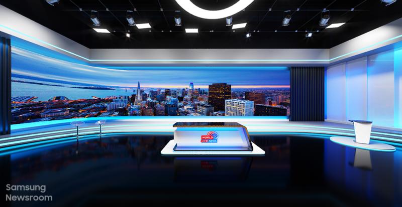 Broadcasting news studio