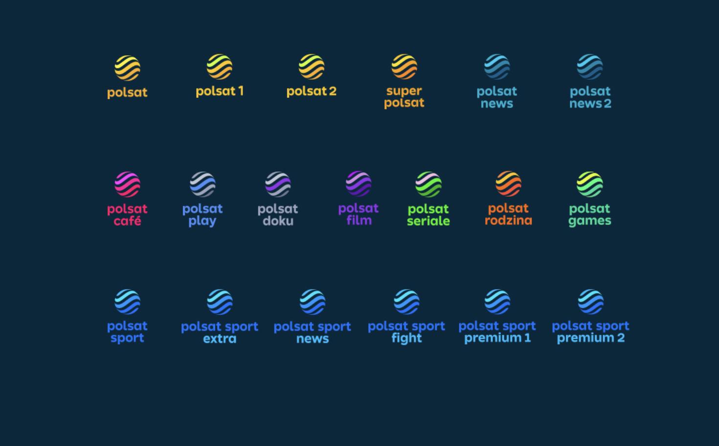 """Telewizja Polsat rozpoczęła zmianę swoich logotypów. Rebranding kanałów tematycznych Telewizji Polsat jest kolejną częścią zmiany całej Grupy Polsat Plus. Wcześniej zostały już zaprezentowane nowe logotypy kluczowych i strategicznych marek takich jak Polsat, Plus, Polsat Box, Polsat Box Go i Polsat Go. """"Polsat – to najlepsze emocje, treści i produkcje – rozrywka, sport, filmy, seriale, programy i najbardziej rzetelne informacje. Dzięki rodzinie kanałów Polsatu nasi widzowie mogą cieszyć się kontentem i przeżywać emocje, jakie się z nim wiążą. Wprowadzamy całkowicie nową identyfikację wizualną zarówno Polsatu głównego, jak i kanałów tematycznych – tak, aby widz wiedział, że są to kanały z jednej Grupy i że oferują najlepsze treści, które można oglądać na różne sposoby w dowolnie wybranym przez siebie miejscu i czasie – mówi Katarzyna Wyszomirska-Wierczewska, Członek Zarządu Telewizji Polsat Sp. z o.o., Dyrektor Komunikacji Marketingowej Grupy Polsat Plus. Wszystkie logotypy oraz elementy graficzne strategicznych marek Grupy Polsat Plus są z tej samej rodziny i są do siebie podobne, dlatego, dokładnie w ten sam sposób zmieniają się wizualizacja stacji tematycznych. """"Nowe i wspólne dla wszystkich marek Grupy Polsat Plus hasło: """"Wybierz swoje wszystko"""" idealnie oddaje, wszechstronną, różnorodną i doskonale dopasowaną do indywidualnych potrzeb każdego widza, ofertę programową Telewizji Polsat i jej kanałów"""" – dodaje mówi Katarzyna Wyszomirska-Wierczewska, Członek Zarządu Telewizji Polsat Sp. z o.o., Dyrektor Komunikacji Marketingowej Grupy Polsat Plus. Zmiany identyfikacji objęły kluczowe stacje tematyczne: Polsat News Super Polsat, Polsat Play, Polsat Cafe, Polsat Games, Polsat Rodzina, Polsat Doku, Polsat Film, Polsat Seriale, Polsat 1 oraz Polsat 2 oraz wszystkie kanały sportowe, czyli Polsat Sport, Polsat Sport News, Polsat Sport Extra, Polsat Sport Fight, Polsat Sport Premium 1 i Polsat Sport Premium 2."""