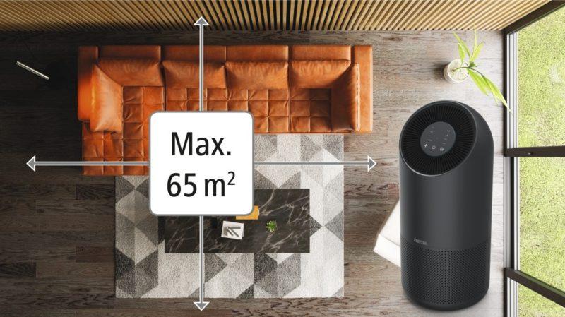 Oczyszczacz pracuje skutecznie w pomieszczeniu o powierzchni do 65 mkw.
