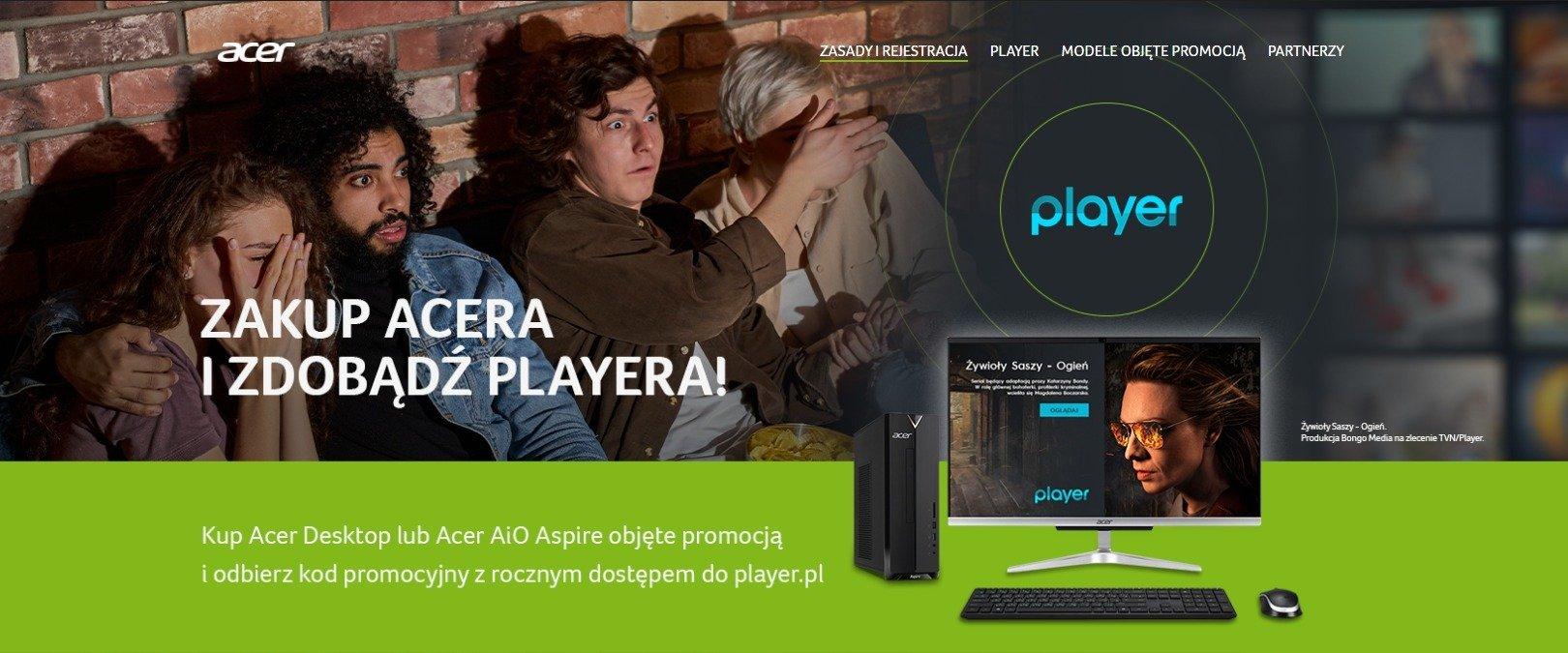 Przy zakupie komputera z serii Acer Aspire – roczna subskrypcja Player.pl za darmo