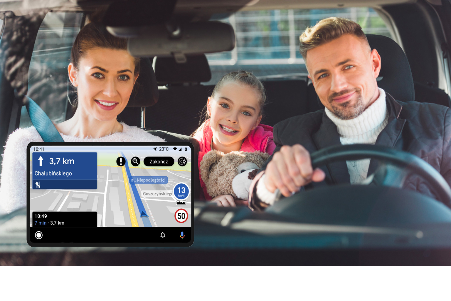 AutoMapa ostrzega o patrolach i radarach w Android Auto.